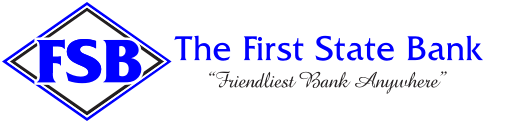The First State Bank logo.